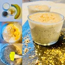 Verrine banane lait de coco graines de chia et épices